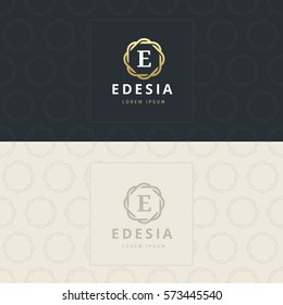 E Letter Logo, Icon with pattern. vector element