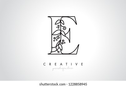 E Letter Logo With Organic Monogram Plant Leafs Detail and Circle Design. Creative Letter Icon Logo.