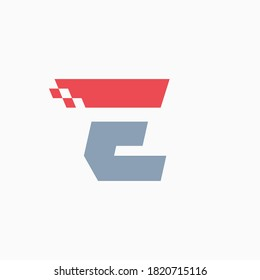 E letter logo with taxi checkered pattern line. Perfect for transport company advertising, sportswear sign, furious identity, etc.
