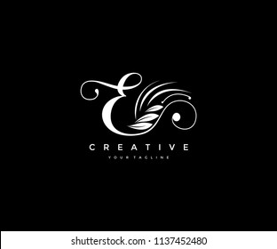 E letter luxury flourishes ornament logo