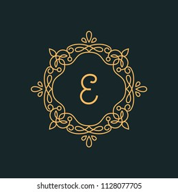 E letter Luxury Logo template flourishes calligraphic elegant ornament lines Monogram design elements, graceful template.Business sign, identity for Restaurant, Royalty, Cafe, Hotel, Jewelry, Wedding.