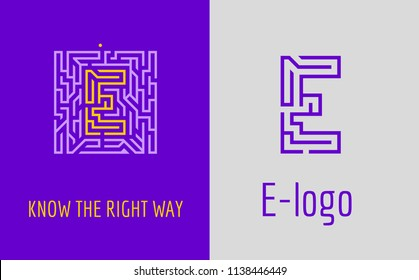 E letter maze. Creative logo for corporate identity of company: letter E. The logo symbolizes labyrinth, choice of right path, solutions. Suitable for consulting, financial, construction.