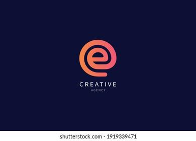 E Letter Monogram Logo Minimalist Design