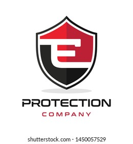 E Letter shield vector logo template. Black and red color. This alphabet or font symbol suitable for protection business.