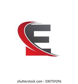 E letter swoosh red logo