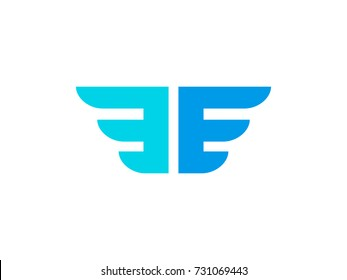 E & E Letters logo concept. Wings logo formed by letters E. Wings Logo abstract design template. Graphic Alphabet Symbol for Corporate Business Identity. Creative Vector element