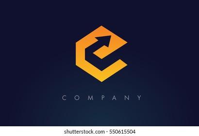 E Logo Arrow.E Letter Icon Design Vector Illustration.
