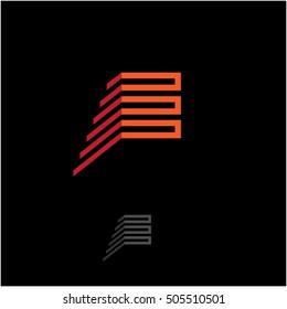 E logo. E monogram. Build logo. E construction.