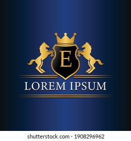 E logo Retro golden crest with shield and two horses. Can be used as logo, emblem or banner for luxury, royal or vintage design concept.