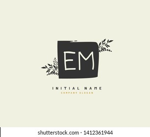 E M EM Beauty vector initial logo, handwriting logo of initial wedding, fashion, jewerly, heraldic, boutique, floral and botanical with creative template for any company or business.