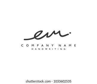 E M Initial handwriting logo