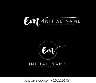 E M Initial handwriting logo vector. Hand lettering for designs.