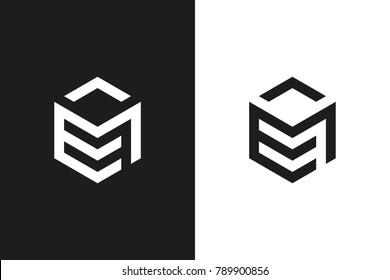 E and M Letter logo, Cube, Hexagon and Monochrome Logo