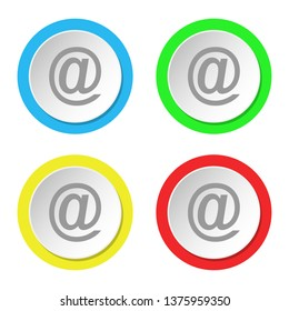 E mail icon. Set of round colored flat icons.