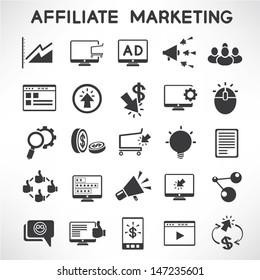 e marketing and affiliate marketing icons set