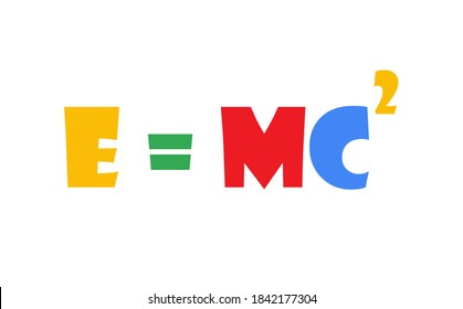 E = mc2 or Mass-energy equivalence equation is theory of special relativity. E = mc2 colorful vector illustration on white background