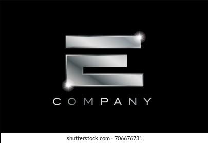 E metal metallic silver logo on a black blackground