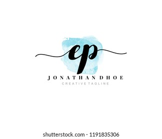 E P EP Initial watercolor logo on white background. Logo template vector