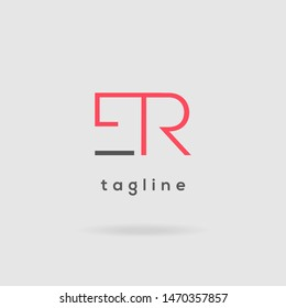 E & R double letter logo design vector template