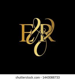 E & R / ER logo initial vector mark. Initial letter E & R ER luxury art vector mark logo, gold color on black background.