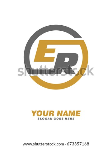 E R Initial Circle Logo Template Stock Vector Royalty Free