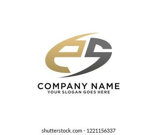 E S Initial logo template vector