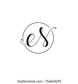 e and S or N letter vector logo template