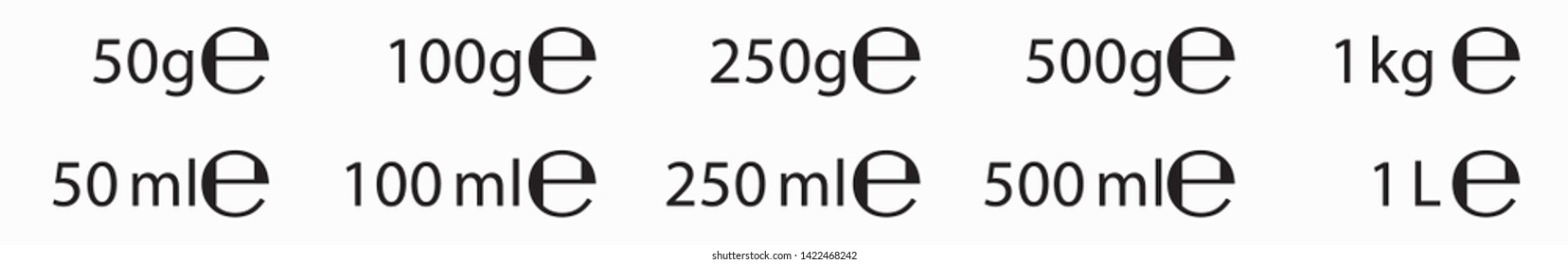E sign (e-mark) for estimated weights and volumes. Vector symbol for packaging and labels used in the European Union for prepacked foods, drinks and cosmetics in different grams and milliliters.
