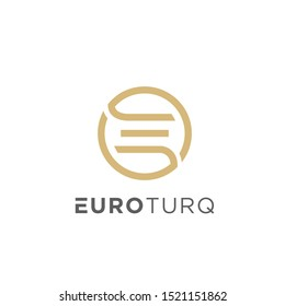 E simple logo design with flat style minimalist good for your business
