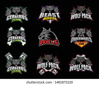 E sport logo, symbol, icon collection set with Wolf Theme