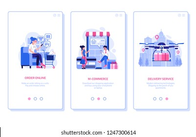 E store marketing and advertising onboarding mobile app page screens with people shopping on smartphone, order online and internet delivery service concept. M commerce horizontal banners in flat.