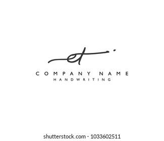 E T Initial handwriting logo