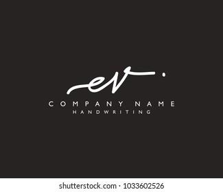 E V Initial handwriting logo