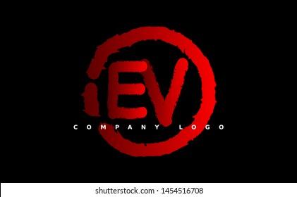 E V Logo. EV Letter Design Vector with red color. grunge style