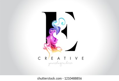 E Vibrant Creative Letter Logo Design with Colorful Smoke Ink Flowing Vector Illustration.