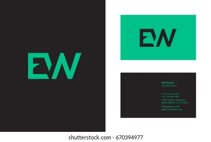 E W  joint logo line letter icon with business card template