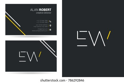 E & W logo vector design with business card template