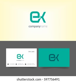 E & X Letter logo, with Business card Template