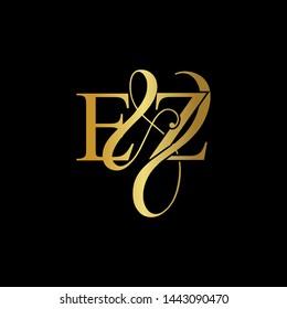 E & Z / EZ logo initial vector mark. Initial letter E & Z EZ luxury art vector mark logo, gold color on black background.