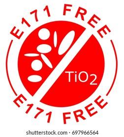 E171 free titanium dioxide nanoparticles stamp in red
