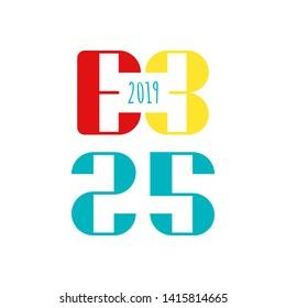 E3 initial vector logo mark. Electronic Entertainment Expo. Los Angeles  11 June. Flat illustration.