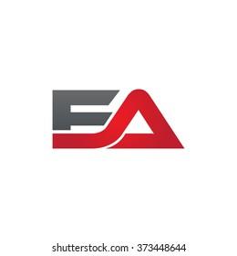 EA company linked letter logo black red