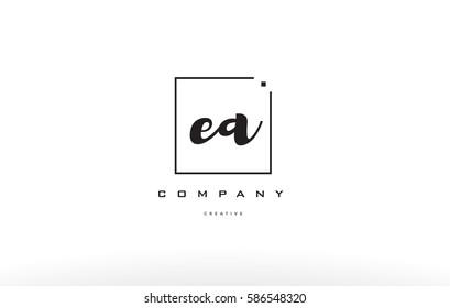 ea e a hand writing written black white alphabet company letter logo square background small lowercase design creative vector icon template