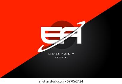 ea e a  red black white technology swoosh alphabet company letter logo design vector icon template