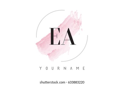EA E A Watercolor Letter Logo Design with Circular Shape and Pastel Pink Brush.