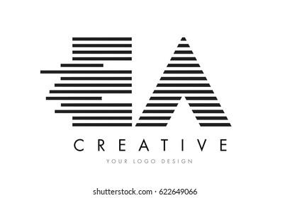 EA E A Zebra Letter Logo Design with Black and White Stripes Vector