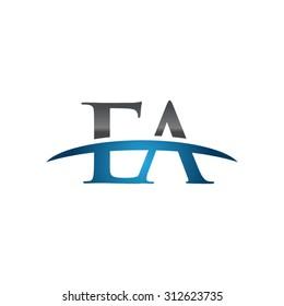 EA initial company blue swoosh logo