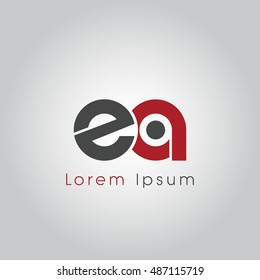 ea initial letter linked lowercase logo. e and a vector template design.