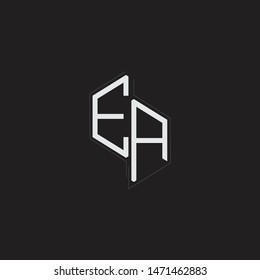 EA Initial Letters logo monogram with up to down style isolated on black background