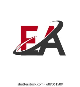 EA initial logo company name colored red and black swoosh design, isolated on white background. vector logo for business and company identity.